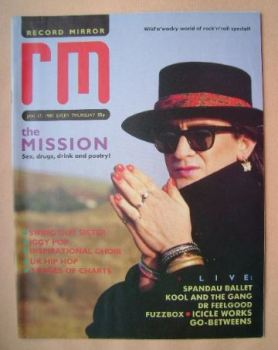 Record Mirror magazine - Wayne Hussey cover (17 January 1987)