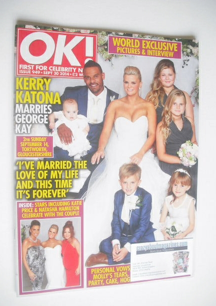 <!--2014-09-30-->OK! magazine - Kerry Katona wedding cover (30 August 2014