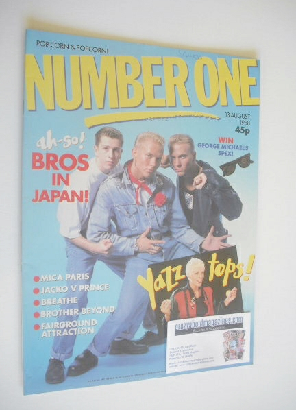 <!--1988-08-13-->NUMBER ONE Magazine - Bros cover (13 August 1988)