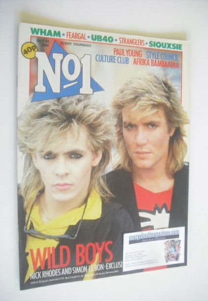 <!--1984-10-27-->No 1 magazine - Simon Le Bon and Nick Rhodes cover (27 Oct