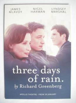 Three Days Of Rain theatre card