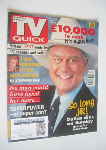 <!--1991-10-05-->TV Quick magazine - Larry Hagman cover (5-11 October 1991)