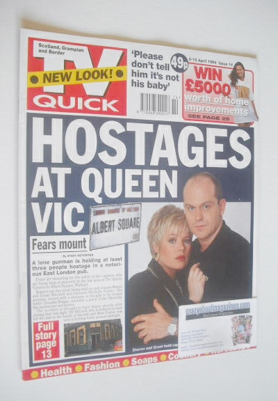 <!--1994-04-09-->TV Quick magazine - Ross Kemp and Letitia Dean cover (9-15