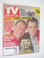 <!--1991-03-30-->TV Quick magazine - Bill Treacher and Todd Carty cover (30 March - 5 April 1991 - First Issue)