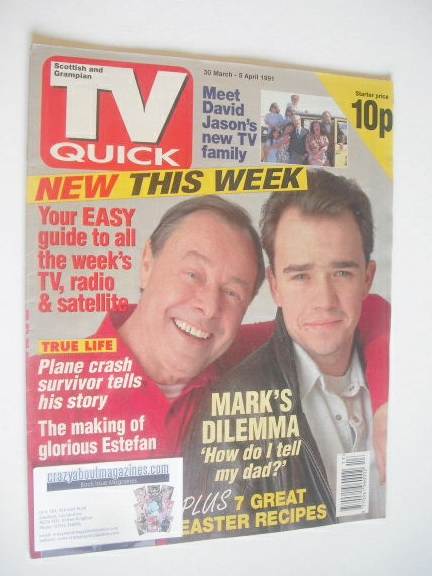 <!--1991-03-30-->TV Quick magazine - Bill Treacher and Todd Carty cover (30