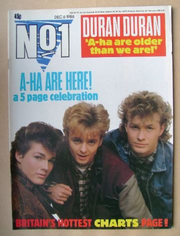 <!--1986-12-06-->No 1 Magazine - A-Ha cover (6 December 1986)
