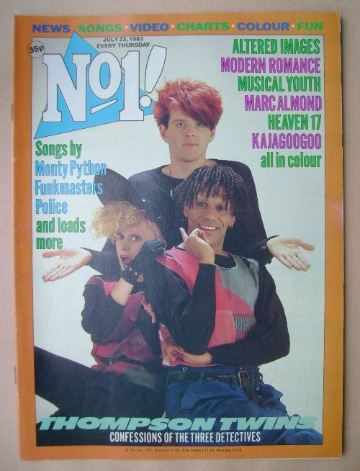 <!--1983-07-23-->No 1 magazine - Thompson Twins cover (23 July 1983)