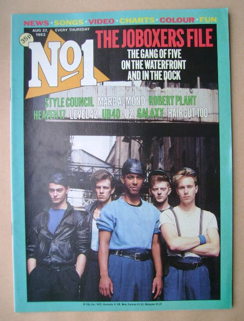 <!--1983-08-27-->No 1 magazine - JoBoxers cover (27 August 1983)
