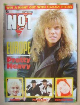 No 1 Magazine - Joey Tempest cover (29 November 1986)