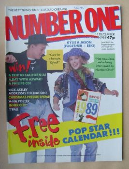 NUMBER ONE Magazine - Jason Donovan and Kylie Minogue cover (14 December 1988)