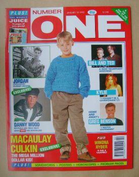 NUMBER ONE Magazine - Macaulay Culkin cover (18 January 1992)