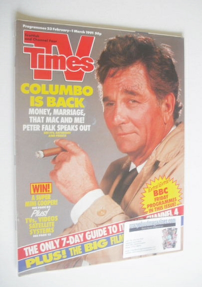 <!--1991-02-23-->TV Times magazine - Peter Falk cover (23 February - 1 Marc