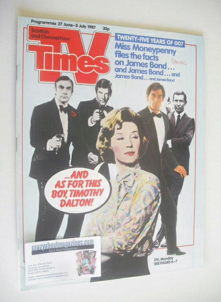 <!--1987-06-27-->TV Times magazine - James Bond cover (27 June - 3 July 198