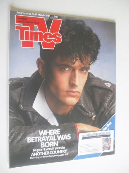 <!--1987-03-21-->TV Times magazine - Rupert Everett cover (21-27 March 1987