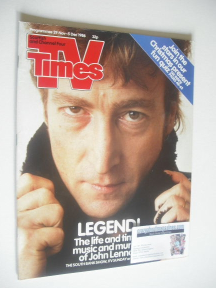 <!--1986-11-29-->TV Times magazine - John Lennon cover (29 November - 5 Dec