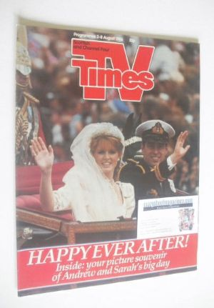 <!--1986-08-02-->TV Times magazine - Prince Andrew and Sarah Ferguson cover