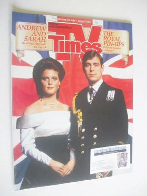 <!--1986-07-25-->TV Times magazine - Prince Andrew and Sarah Ferguson cover