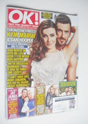 <!--2014-10-28-->OK! magazine - Kym Marsh and Dan Hooper cover (28 October