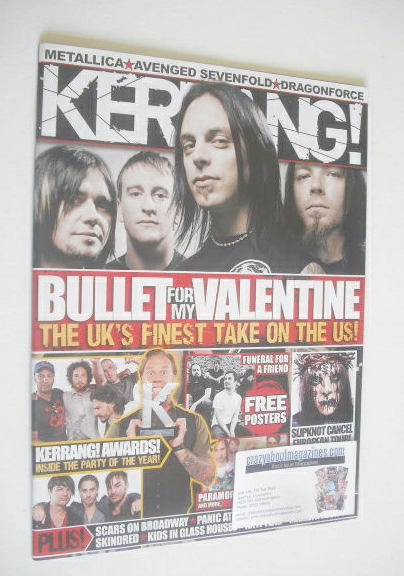 <!--2008-08-30-->Kerrang magazine - Bullet For My Valentine cover (30 Augus