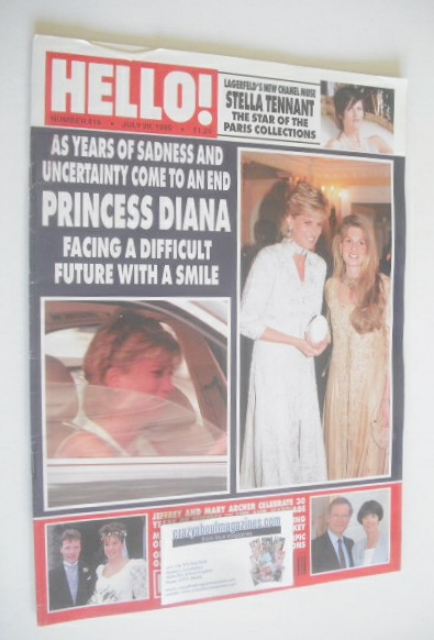 <!--1996-07-20-->Hello! magazine - Princess Diana and Jemima Khan cover (20