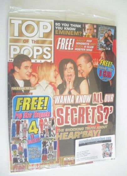 <!--2001-04-->Top Of The Pops magazine - Hear'Say cover (April 2001 - With