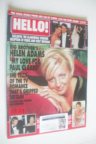 <!--2001-08-21-->Hello! magazine - Helen Adams cover (21 August 2001 - Issu
