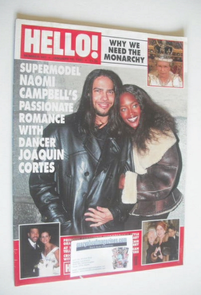 <!--1997-01-18-->Hello! magazine - Joaquin Cortes and Naomi Campbell cover