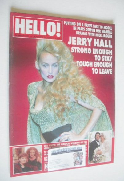 <!--1996-10-26-->Hello! magazine - Jerry Hall cover (26 October 1996 - Issu