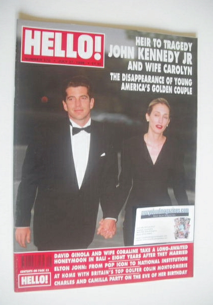 <!--1999-07-27-->Hello! magazine - John Kennedy Jr and wife Carolyn cover (