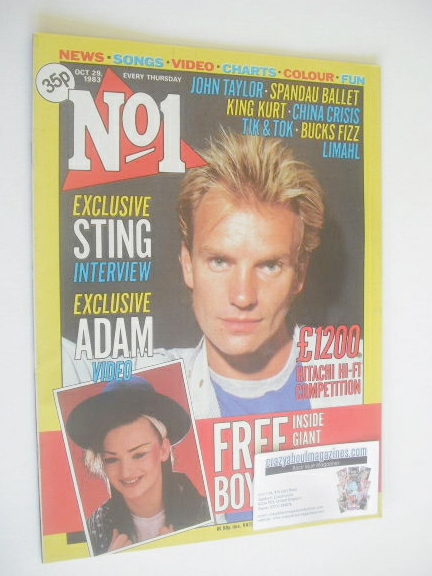 <!--1983-10-29-->No 1 magazine - Sting cover (29 October 1983)