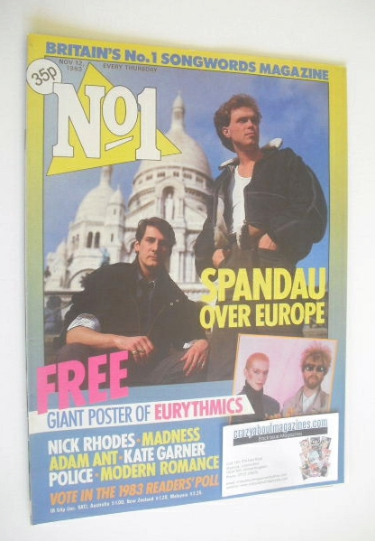 <!--1983-11-12-->No 1 magazine - Tony Hadley and Gary Kemp cover (12 Novemb