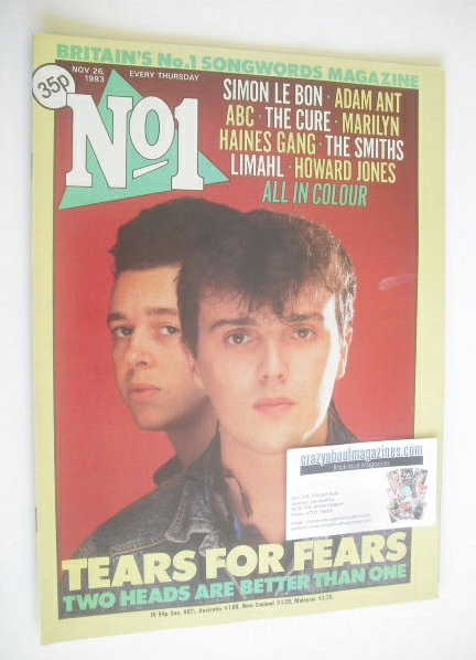 <!--1983-11-26-->No 1 magazine - Tears For Fears cover (26 November 1983)