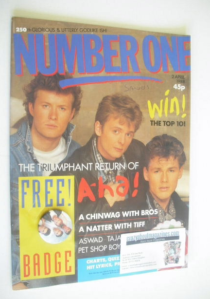 <!--1988-04-02-->NUMBER ONE Magazine - A-Ha cover (2 April 1988)