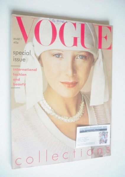 <!--1975-03-01-->British Vogue magazine - 1 March 1975 - Aurore Clement cov