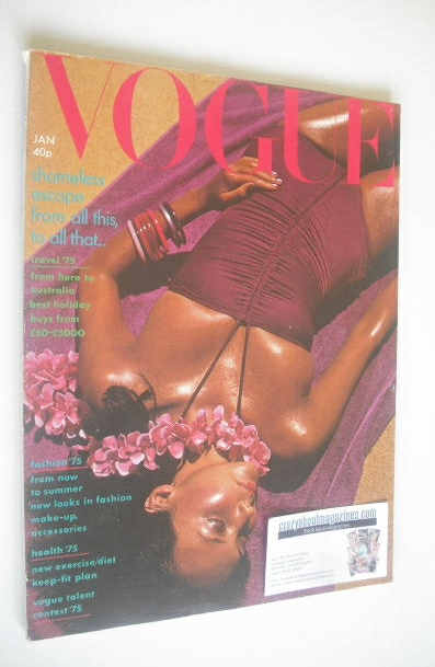 <!--1975-01-->British Vogue magazine - January 1975 - Marie Helvin cover