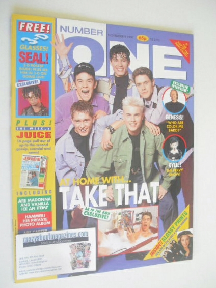 <!--1991-11-09-->NUMBER ONE Magazine - Take That cover (9 November 1991)