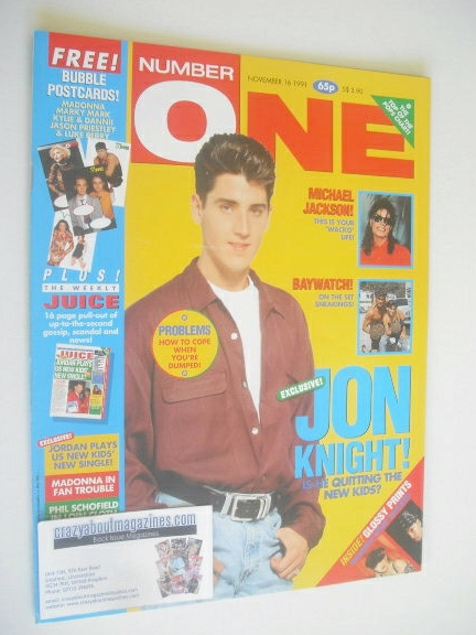 <!--1991-11-16-->NUMBER ONE Magazine - Jon Knight cover (16 November 1991)