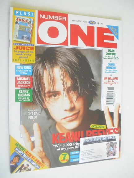 <!--1991-12-07-->NUMBER ONE Magazine - Keanu Reeves cover (7 December 1991)