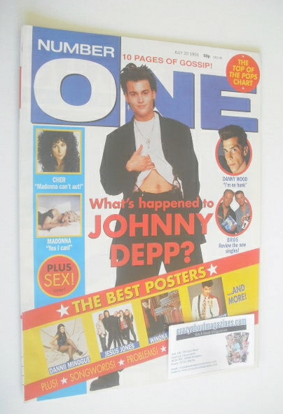 <!--1991-07-20-->NUMBER ONE Magazine - Johnny Depp cover (20 July 1991)