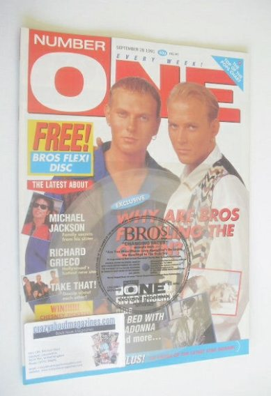 <!--1991-09-28-->NUMBER ONE Magazine - Bros cover (28 September 1991)