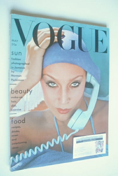 <!--1975-05-->British Vogue magazine - May 1975 - Jerry Hall cover