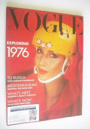<!--1976-01-->British Vogue magazine - January 1976 - Jerry Hall cover