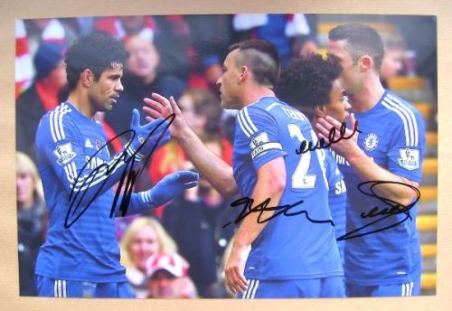 Diego Costa, John Terry, Willian, Gary Cahill autographs