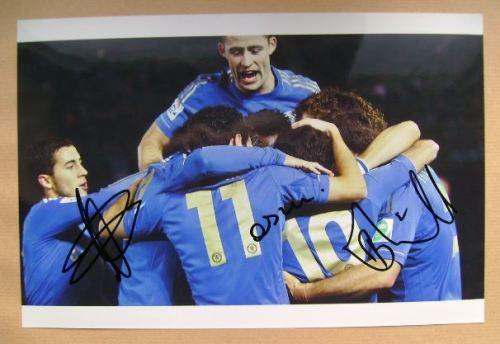 Eden Hazard, Oscar, Branislav Ivanovic autographs