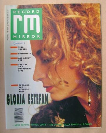 <!--1989-10-07-->Record Mirror magazine - Gloria Estefan cover (7 October 1