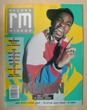 <!--1989-09-30-->Record Mirror magazine - Merlin cover (30 September 1989)