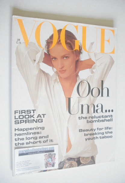 <!--1994-01-->British Vogue magazine - January 1994 - Uma Thurman cover
