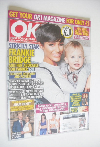 <!--2015-01-06-->OK! magazine - Frankie Bridge and son Parker cover (6 Janu