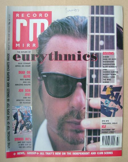 <!--1989-08-12-->Record Mirror magazine - Dave Stewart cover (12 August 198