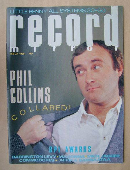 <!--1985-02-23-->Record Mirror magazine - Phil Collins cover (23 February 1